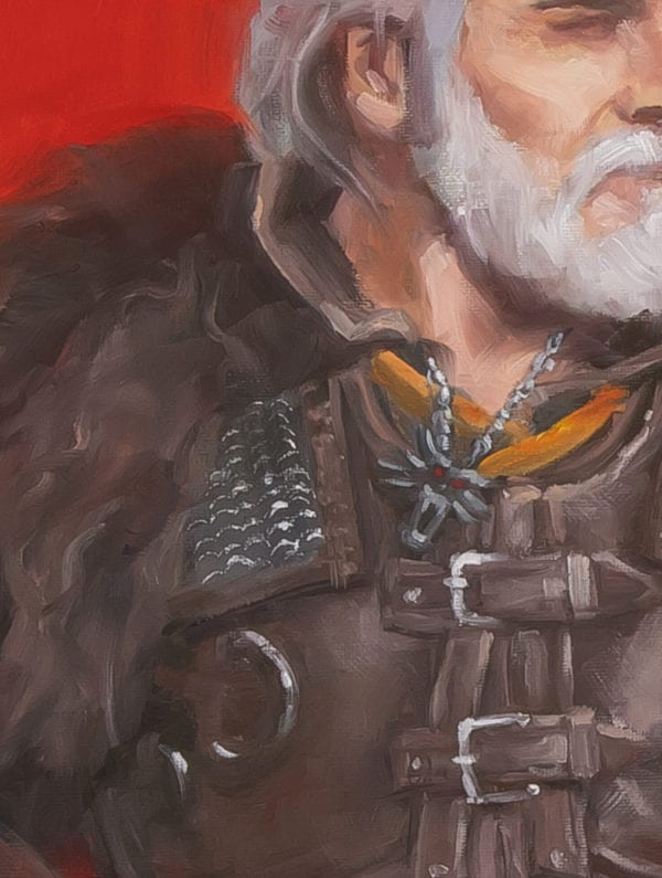 Geralt of Rivia oil painting detail
