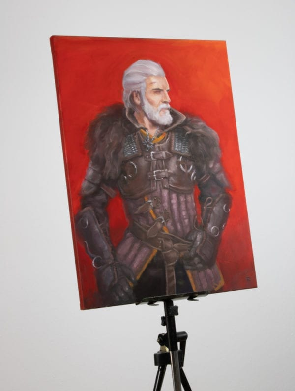 Geralt of Rivia painting on a canvas easel