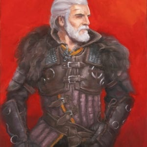 Geralt of Rivia from The Witcher series fantasy oil painting