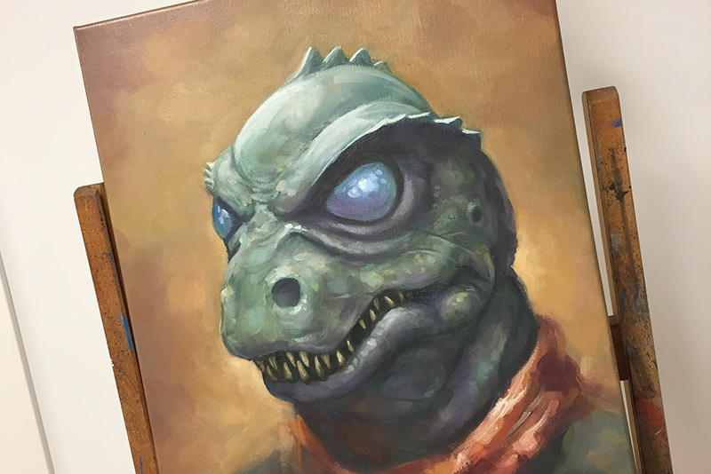 Gorn oil painting on a easel