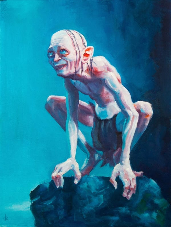 Oil painting of a happy gollum thinking of the precious
